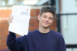 Students at Portsmouth College in Tangier Road, Portsmouth, collected their A-level results on Thursday, August 15. ''Pictured is: Tom Blain, 18,  from Portsmouth, achieved one A* and two As.''Picture: Sarah Standing (150819-5541)