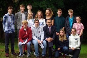 Back Row (from left) Edward Stevens (East Grinstead), Dan Gooda (Worth), Stephanie Evans (East Grinstead), Alex Udsholt-Clayton (Dormansland), Olivia Gray (Dormans Park), Annabel Telfer (Lingfield), Ben Voller (Copthorne), Freddie Matthews (East Grinstead), Keira Byrne (Warlingham).'Front Row (from left) Callum Adam (Ashurst Wood), Oliver Jones (Felcourt), Richard Bool (Headmaster), Naomi Insole (East Grinstead), Hayley Covel (East Grinstead)