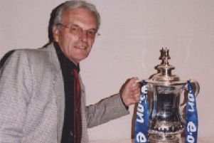 Cyril with the 2008 FA Cup at Pompey club on their reunion day.
