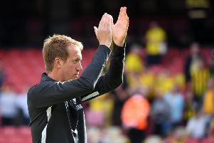 Graham Potter celebrates victory at Watford (Getty)