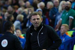 Hatters boss Graeme Jones at Hillsborough this evening