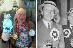 Len on his 100th birthday (left) and in his younger days, enjoying a pint and wearing a straw hat (right).
