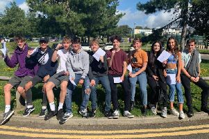 St Leonards Academy students with their results SUS-190822-105555001