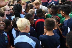 Prince Harry met pupils from across schools in Luton