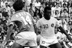 Something Bobby never thought would happen in his younger days, on the same pitch as the great Brazilian, Pele