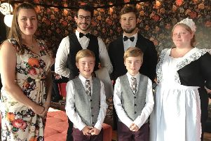 Everyman venue manager Rebecca Drees with her staff and Zac and Oliver Barker at the Downton Abbey event