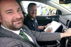 Lincolnshire PCC Marc Jones with IAM Roadsmart volunteer observer Richard Hardesty.
