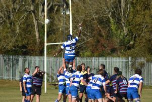 Calvin Crosby-Clarke winning the ball at a lineout close to the KCH line. Picture by Phil Begg