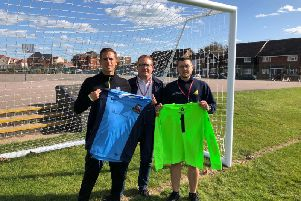 Steve Dallaway, Head of PE & Sport at St Richards (left), Skilteks James Hopkins (centre) and Dax Hart from Dale Saunders Ltd. showing off the new kits.