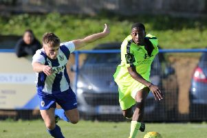 Lanre Azeez in action against Haywards Heath Town. Picture by Scott White