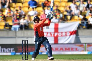 Chris Jordan strikes out during a quickfire knock of 36 in the second IT20 game in New Zealand / Picture: Getty Images