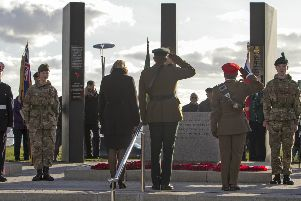 A poignant moment from Sunday's commemoration at Carrickfergus war memorial.