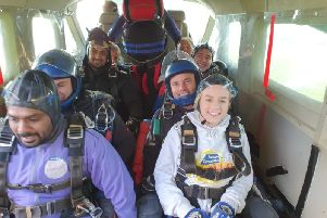 The skydivers get ready for their skydive in aid of Denny SUS-191120-111023001