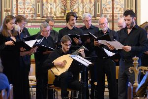 The Hastings Philharmonic Chamber Choir with Marcio da Silva and Cedric Meyer on lute. Photo by Peter Mould