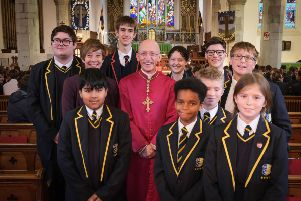 The Bishop of Chichester, Rt Rev'd Martin Warner, with students SUS-191126-112912001