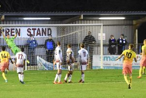 Ryan Warwick watches his free kick go over the crossbar.