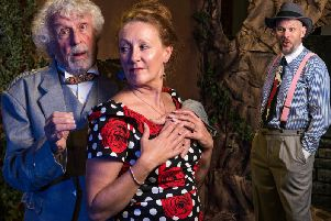 Sir Andrew Aguecheek (Jeremy Haynes), Maria (Lorna Middleton) and Sir Toby Belch (Peter Daly-Dickson)