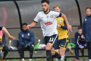 Kings Langley's new signing and a goal scorer on Saturday, Andronicos Georgiou. (Picture: Chris Riddell).