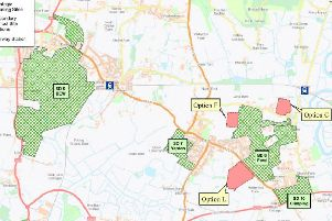 Shortlisted options for a new secondary school in Arun (from Systra report) strategic housing allocations are hatched in green, with potential school sites in red