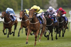 NOTTINGHAM, ENGLAND - APRIL 12:  Neil Farley riding Justanotherbottle win The totepoolliveinfo.com Visit For Racing Results Handicap Stakes at Nottingham Racecourse on April 12, 2017 in Nottingham, England. (Photo by Alan Crowhurst/Getty Images)