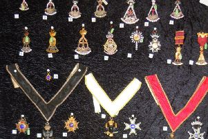 Some of the stolen Masonic regalia. Photo supplied by Alderson House.