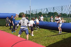 Students enjoyed human table football during Warblington School's Sports Week