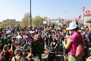 Extinction Rebellion protesters at Waterloo Bridge in April