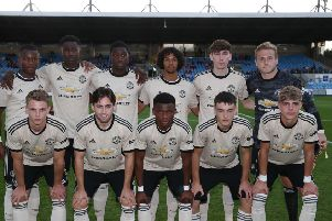 PressEye-Northern Ireland- 29th July  2019-Picture by Brian Little/PressEye'Manchester United U23  team in the challenge match  of the STATSports SuperCupNI , at Ballymena Showgrounds .'Picture by Brian Little/PressEye