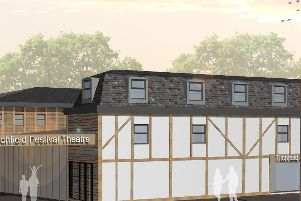 A CGI mockup of the theatre with the proposed extension.