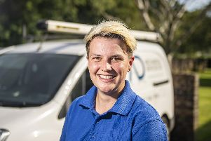 Emily Bishop, a heating and plumbing engineer from Waterlooville who is in the running for Britains top tradesperson in Screwfixs annual competition.