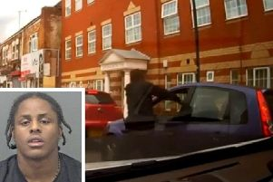 A still of the incident and (inset) Tyriq Richards Tindle