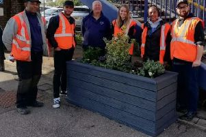 Harlington station has been spruced up thanks to a planting project (Credit: Govia Thameslink""