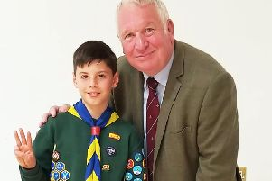 Connor with MP Sir Mike Penning