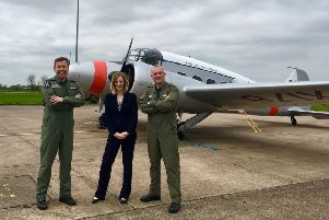 Pictured from left are Station Commander Group Captain Mike Baulkwill, BAE Systems General Manager Alison Ballard and BAE Systems Experimental Test Pilot Peter Kosogorin. EMN-180705-113628001