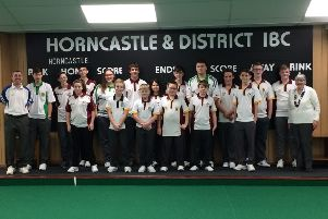 The under 18s who competed on Saturday with Rod West and HIBC president Jill King.