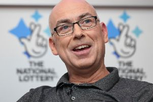 Andrew Clark, 51, from Boston, Lincolnshire, celebrates his �76,369,806.80 EuroMillions jackpot win from the draw on Friday 2 November 2018 at Belton Woods Hotel, Grantham. Picture: Joe Giddens/PA Wire