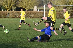 Mareham (blue) v Wyberton (yellow). Adam Eyre (blue), Reece Martin (yellow)