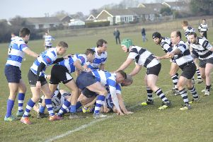 Hastings & Bexhill recycle the ball during their 15-5 win at home to Pulborough on Saturday. Picture by Simon Newstead