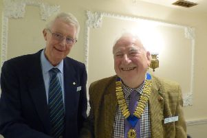 Outgoing Chairman Peter Williams handed the Chain of Office to incoming Chairman Keith Kelsey