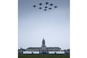 Nine Tornado aircraft swoop over College Hall at RAF Cranwell. Photo courtesy of RAF Cranwell.