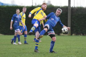 Fosdyke Res (blue) v Park Res (yellow). Marvin Jolly (blue), Josh Stanley (yellow)