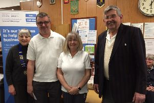 President Jill King is pictured presenting the winners of the Bowls Gala competition with their prize. From left are Jill King, Keith Taplin, Jayne Taplin and John Scholey.