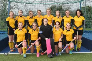 Horncastle Hockey Club, Ladies first team. Front L-R Georgie White, Britt Esterhuizen, Laura Neame, Emily Tokelove, Alice Cannon. Back L-R Fliss Beall, Lottie Hopwood, Jodie Tingey, Bridie Mason, Izzy Williams, Alex Tokelove, Tamsin Roark, Ruth Cullen.