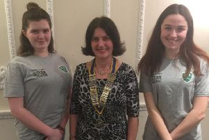 Banovallum students, Helen Rhodes and Holly Adams with Horncastle Rotary Club president Karen Caudwell EMN-190318-120920001