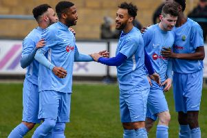 Players celebrate Simeon Tulloch's goal which put Rugby Town ahead against Eynesbury last weekend, but they eventually lost 4-3  (Picture by Martin Pulley)