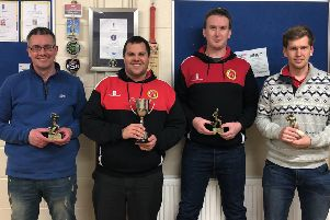 Horncastle CC's Sunday side are looking forward to life in Division One after promotion. Pictured are Richard Hickling (Bowler of the Year), captain Rob Bee (champions trophy), Liam Wilkinson (Fielder of the Year) and Jonny Clark (Batsman of the Year) at the division awards night.