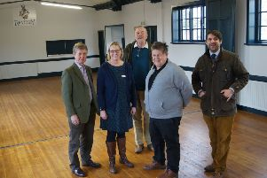 From left, John Roe, chairman of Revesby Country Fair; Avril Moore, hall secretary; Gavin Wiggins-Davies, representing the Revesby Estate; Jeff Bush, village hall chairman, and Peter Wiggins-Davies in the newly refurbished village hall at Revesby