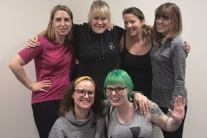 Tthe team, in their running kit and raring to go: from left,  Lyndsay Carter, Paschal Campbell, Cheryl Goodwin,Zara McAteer,  Lisa De La Perrelle and Emily Brewer. EMN-190331-095725001