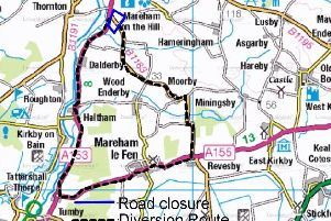 The diversion route for the B1183 Scrivelsby Road closure. EMN-190204-160825001