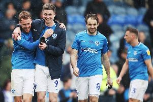 Pompey marked their fifth-straight League One win on Saturday by also ensuring play-off qualification. Picture: Joe Pepler